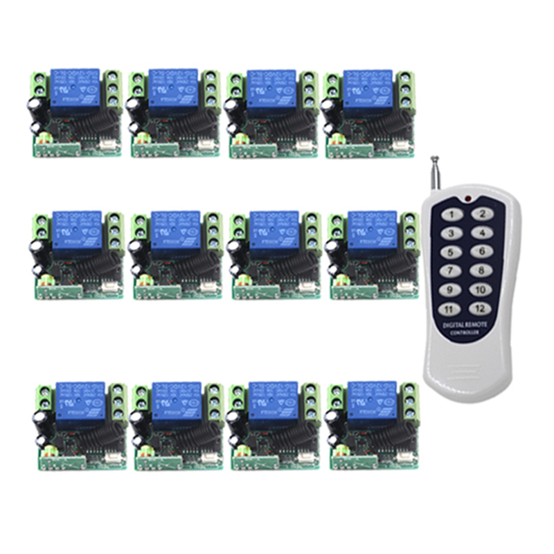 DC 12V 315MHz 1Channel Wireless Remote Control Switch System 1 Transmitter + 12 Receiver 4307