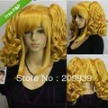 free shipping>>@> Long blonde yellow wavy Lolita Cosplay pony pig tail full wig w/ cap 5.2