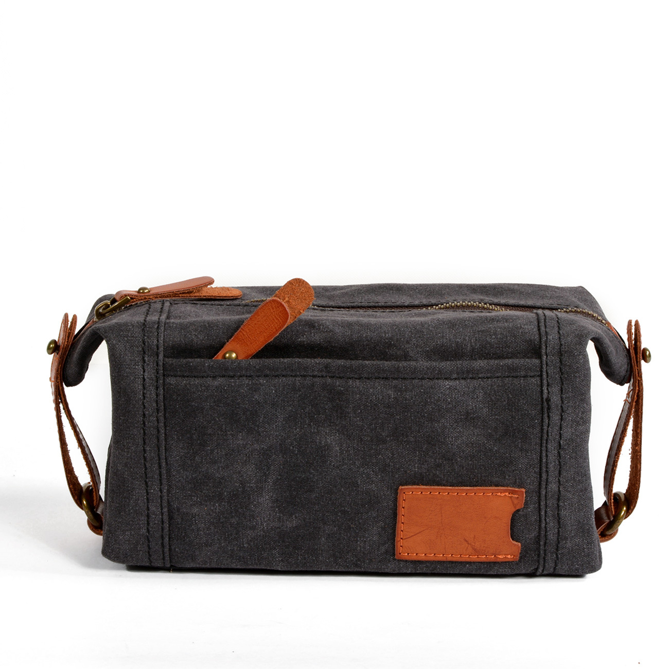 2061d8490723 New men s clutch oil wax canvas wash bag Retro Leather Hand Baotou ...