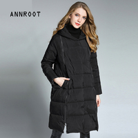 ANNROOT Women Jacket 2017 Autumn Winter New fashion Parkas Padded ladies coats long quilted jackets Warm Thicken outerwear