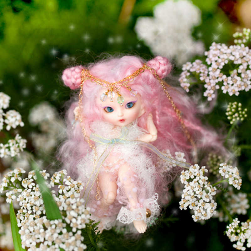 FreeShipping Fairyland FL Realpuki Roro BJD Doll 1/13 Pink Smile Elves Toys for Girl Tiny Resin Jointed Doll