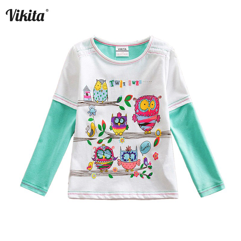VIKITA Girls T-shirts Baby Clothes Girls Long Sleeve Tops Children's T-Shirts Cotton Cartoon Owl T-Shirts t shirt kids G605