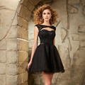 2016 Short Homecoming Dresses with Cap Sleeves Crystal Sexy Open Back Lace Black 8th Evening Prom Dress Puffy homecoming dress
