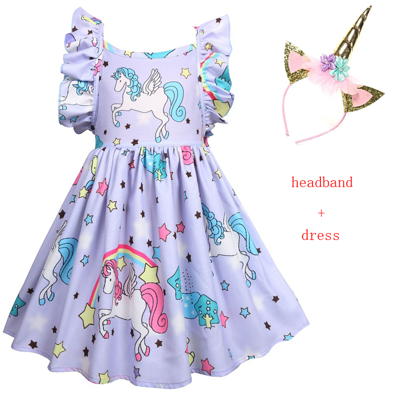 Clothing, Shoes & Accessories Usa 1-6t Kids Baby Girls Unicorn Cartoon Backless Party Pageant Dress Clothes