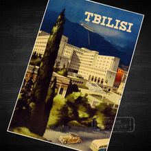 Tbilisi, capital of Georgia, in Spring Express Travel Landscape Retro Vintage Poster Canvas Painting Wall Art Home Posters Decor(China)