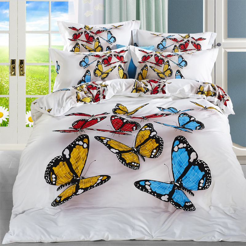 Modern Designs 3d Colorful Butterfly White Bedding Set