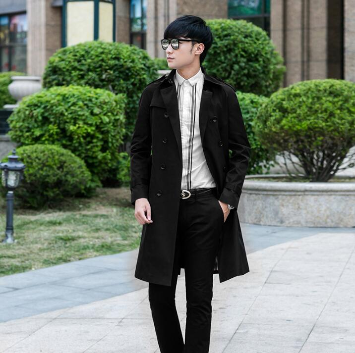 Autumn black khaki beige slim sexy double-breasted trench coat men business outerwear popular mens trench coat big size S - 9XL