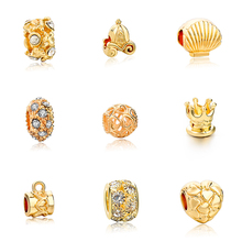 1pc Free Shipping Vintage Style Gold Plated Fit Pandora Charms Bracelets Bangles European Diy Beads For Jewelry Making Spd160066