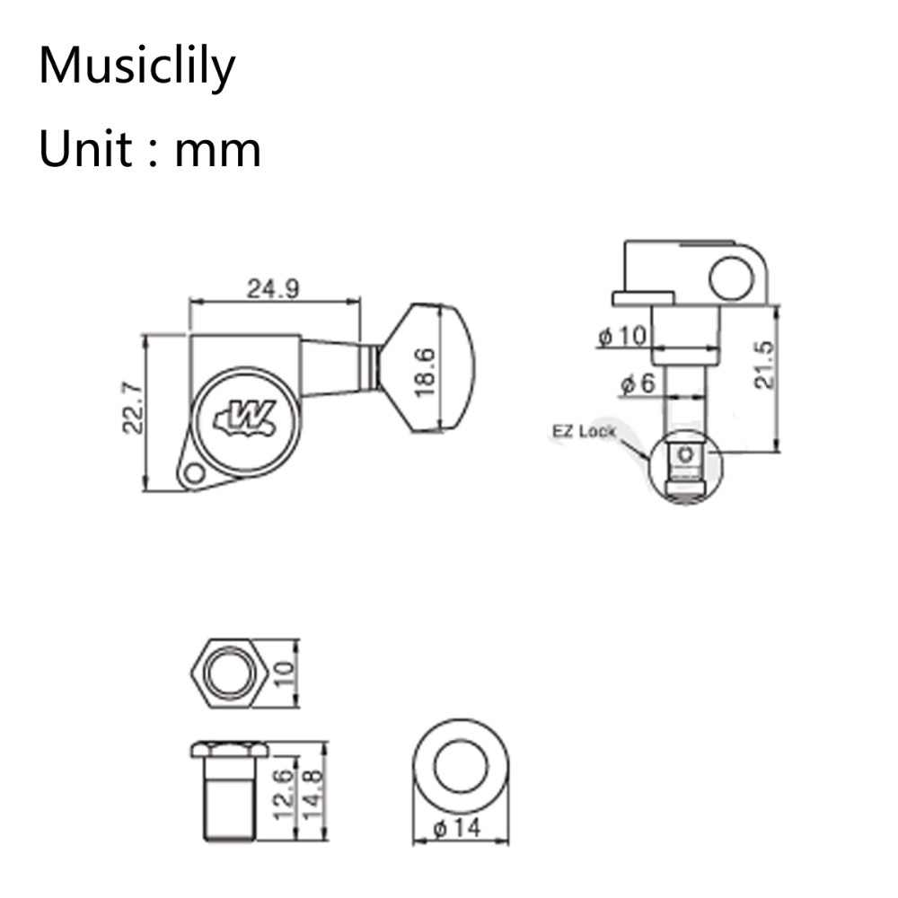 medium resolution of  wilkinson 6 in line e z lok guitar tuners machine heads tuning keys set