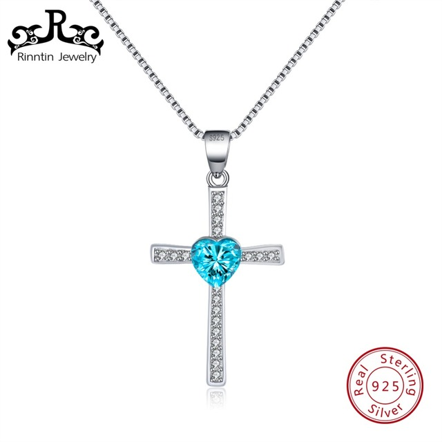 Rinntin Genuine 925 Collana In Argento Donne Croce Reale AAA Cuore Blu Dazzling Zircon Ragazza Wedding Fine Jewelry TSN88-L