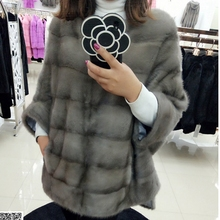 2017 natural fur coat mink fur garmen medium-long plus size female pullover batwing shirt luxury marten overcoat Free Shipping
