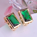 Green CZ Zirconia Square Earrings Prong Setting Rhinestones Stud Earrings For Woman Wedding Bijoux Copper Ear Accessories Aretes