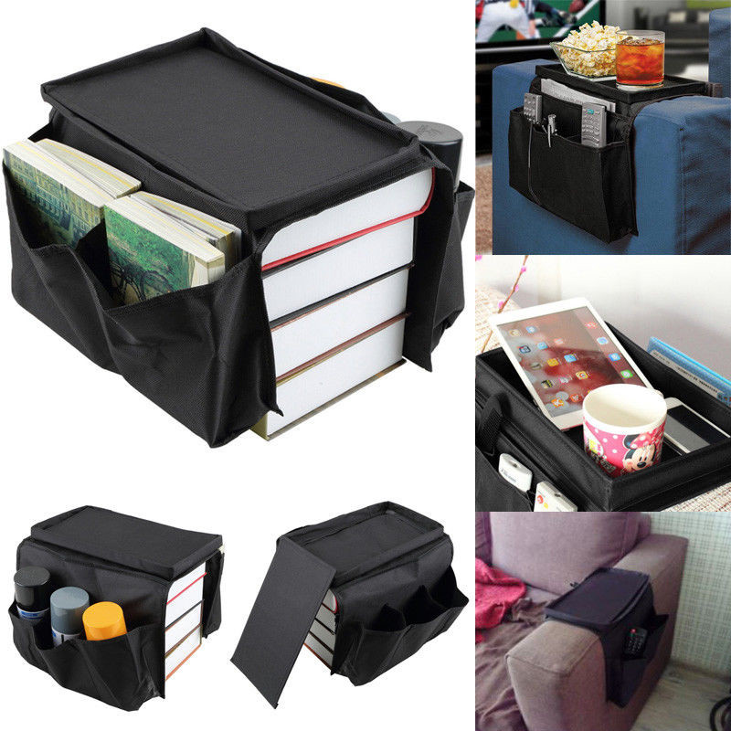 Newly 6 <font><b>Pocket</b></font> Couch <font><b>Remote</b></font> Control Holder <font><b>Sofa</b></font> Arm Rest Organizer Home Space Saving Storage Bag image