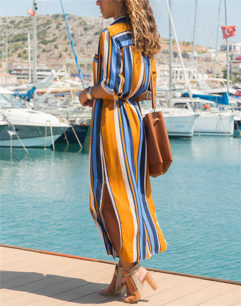 19 Turn Down Collar Office Ladies Stripe Shirt Dress Long Boho Beach Dress Casual Long Sleeve Elegant Party Dress Vestidos 8