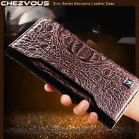 CHEZVOUS Case For IPhone X Genuine Cowhide Leather Crocodile Pattern Wallet Card Slot Bag Case For