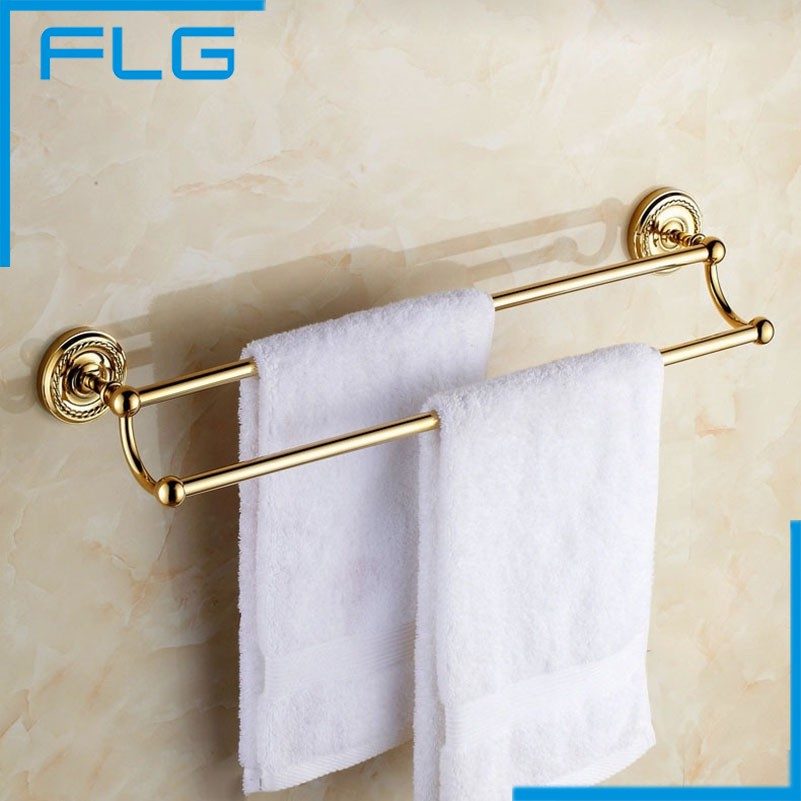 2016 Hot Sale Special Offer Copper 50-60cm With Hook Gold Brass Finish 24 Bathroom Double Towel Bars Rack Rail Dual Holders