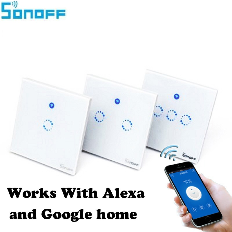 Sonoff T1 Smart WiFi RF / APP / Touch Control Wall Light Switch 1 /2 /3 Gang 86 Type UK Panel Wall Touch Light Switch Smart Home sonoff t1 us smart touch wall switch 1 2 3 gang wifi 315 rf app remote smart home works with amazon free ios and app ewelink