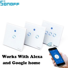 Sonoff T1 Smart WiFi RF / APP / Touch Control Wall Light Switch 1 /2 /3 Gang 86 Type UK Panel Wall Touch Light Switch Smart Home 86 smart switch wifi touch panel remote app control 2 gang wifi smart rf app touch control wall light timer switch z3