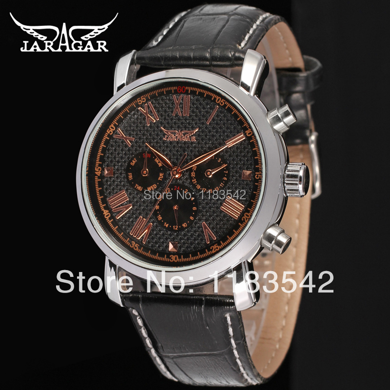Jargar  new  Automatic  fashion dress watch silver  color with black leather band for men hot selling free shipping jargar jag6906m3s2 new men automatic fashion dress watch silver color wristwatch with black leather band free shipping
