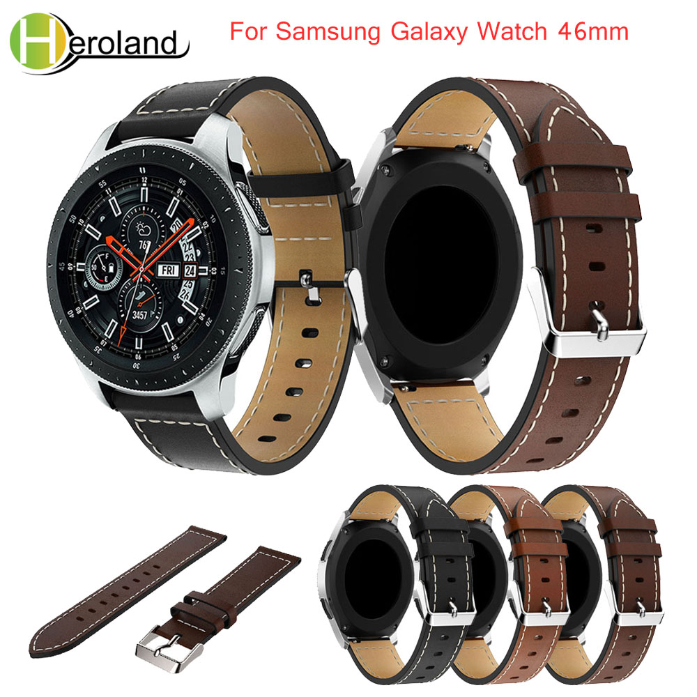 Leather Wrist Watch Bands Strap Replacement For Samsung Galaxy Watch 46mm 22mm Watch Band Bracelet Leather Belt Strap Hot Sale