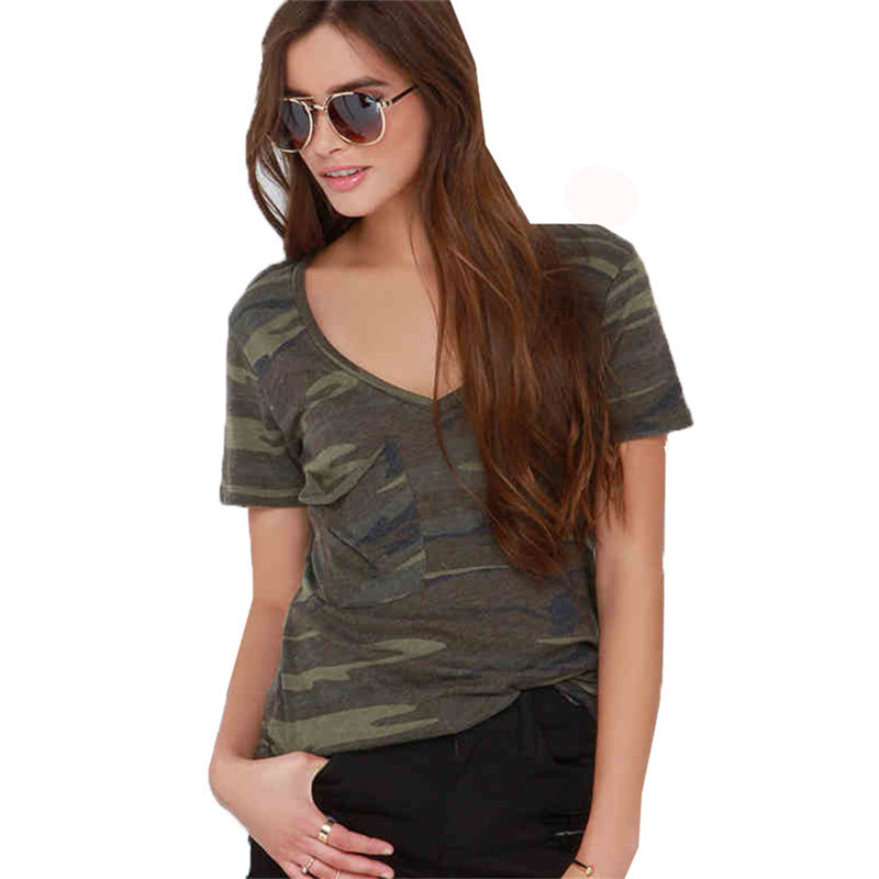 2017 new summer style women t shirt tees short sleeve v neck camouflage t shirts female casual. Black Bedroom Furniture Sets. Home Design Ideas