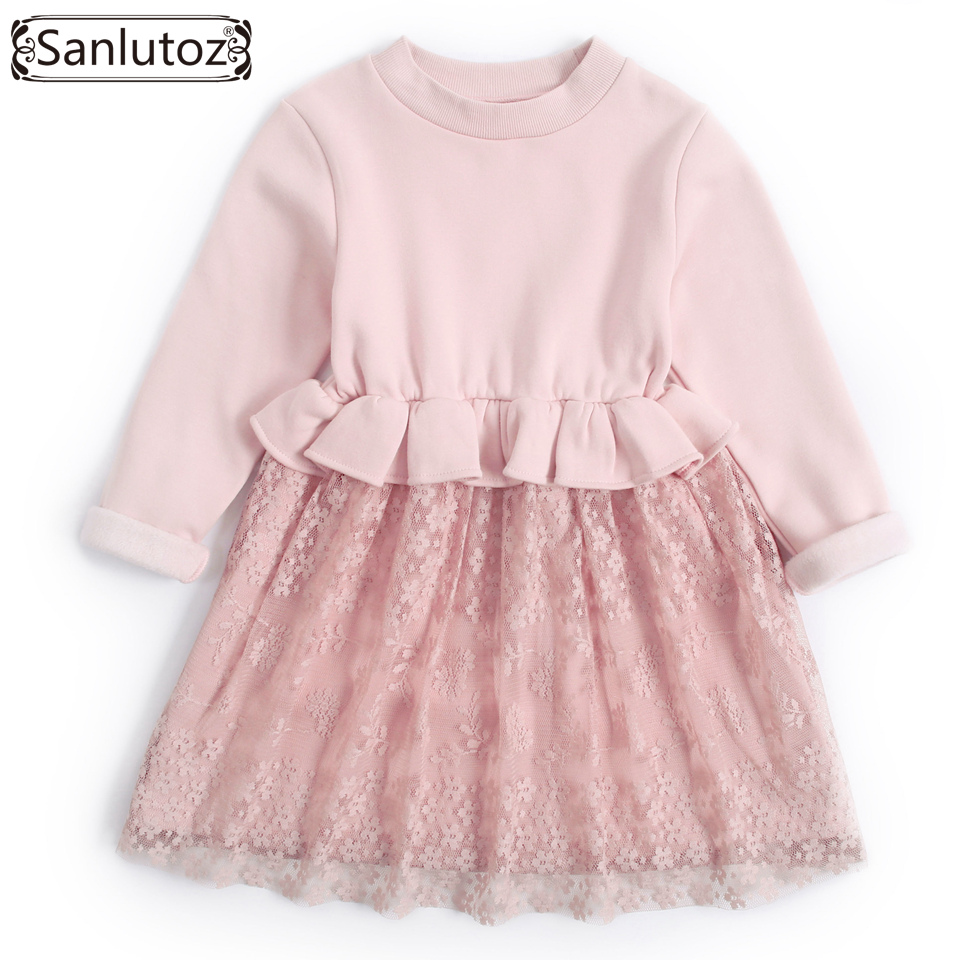 Sanlutoz Girl Dress Princess Long Sleeve Children Clothing Winter Kids Clothes 2017 Warm Toddler Brand Lace Wedding Party Autumn sanlutoz winter children clothing set girls sport suit flower girl clothing toddler 2017 new autumn long sleeve brand set 2 pcs