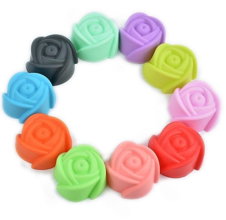 10ks / lot silikonové růže květinové košíčky modelování tvar dortové formy fondantové dorty formy mýdla čokoládová forma LB 012