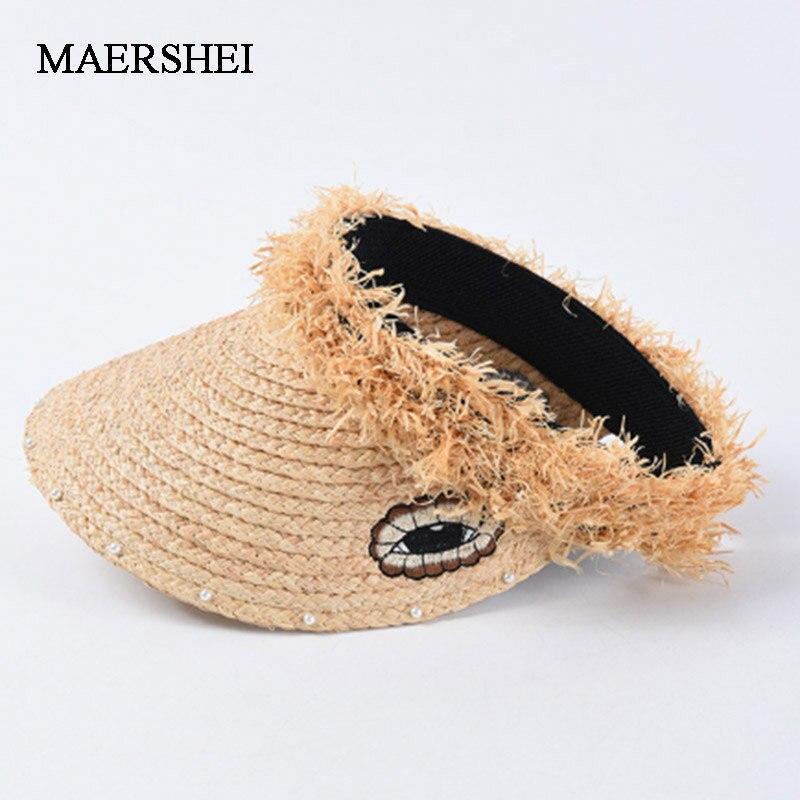 MAERSHEI Summer Women's 100% Raffia Sun Hat Pearl Fashion Empty Top Hat Panama Beach Hat Elegant Woman's Hat(China)
