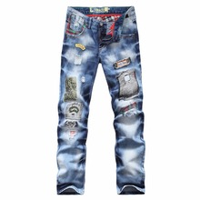 ШАО БАО бренд личности популярные стиль одежды отверстие патч джинсы осень и зима моды для мужчин прямые нищий брюки синий