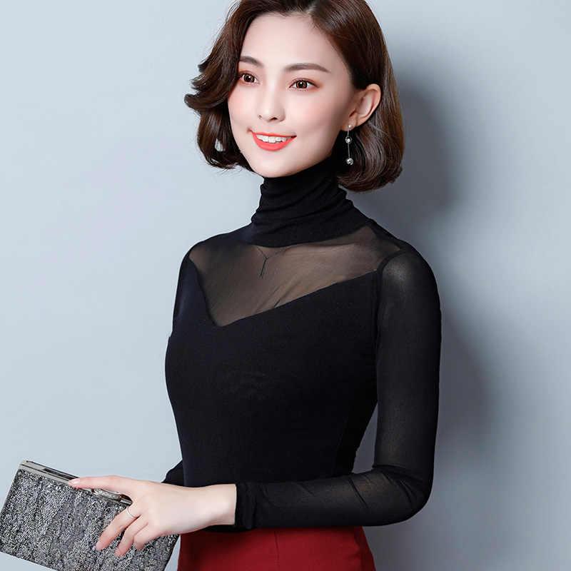 AOSSVIAO Blusas 2019 весенне-осенняя кружевная блузка Модные топы с вязаным кружевом рубашка с длинным рукавом Женские блузки красный черный топ большого размера
