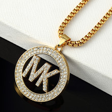2016 New Brand Austrian Rhinestone Letter Pendant Necklace  Yellow Gold Plated Men Boys Hip Hop Link Chain Necklace