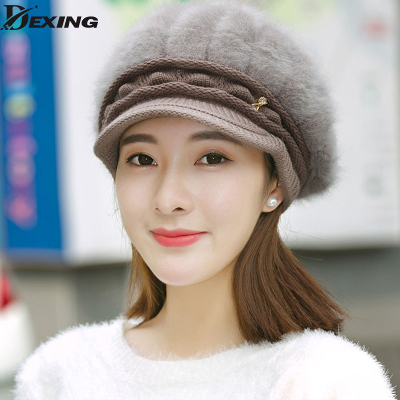 New Casual Brand women Winter Beanies Hat Rabbit Fur Warm Knitted Skullies Bonnet lady Ski Sports Adult Cap rabbit hair lady autumn winter new weaving small pineapple fur hat in winter to keep warm very nice and warm comfortable