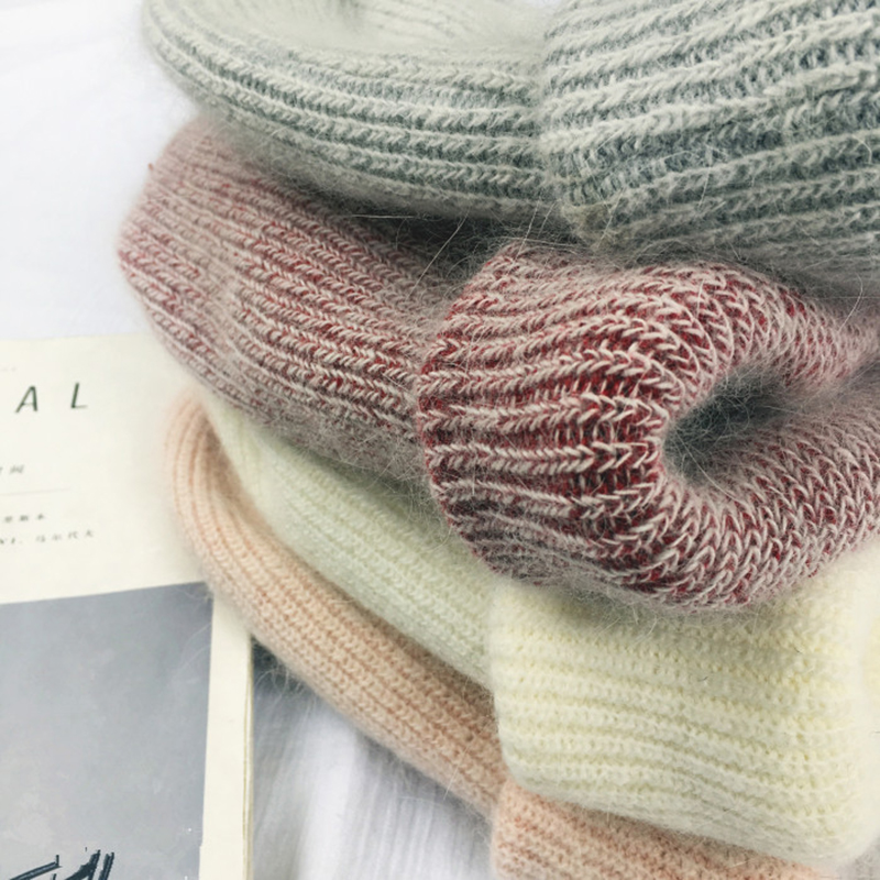 Autumn winter rabbit hair Winter skullies Hat fashion warm beanies hats casual women solid adult rabbit caps cover head 5