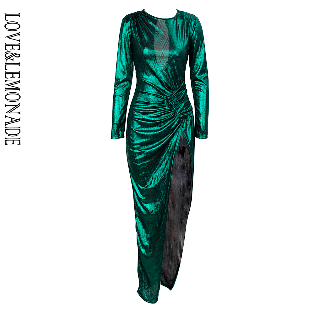 Obliging Love&lemonade Green Round Neck Pleat Stitching Cut Out Open Back Flash Fabric Bodycon Maxi Reflective Dress Lm81812 By Scientific Process Back To Search Resultswomen's Clothing