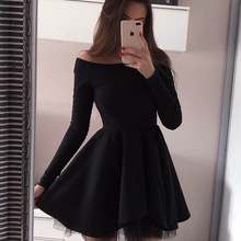 Cocktail-Dresses Coctel Vestidos Elegant Short Black Pleat A-Line Long-Sleeve Mujer