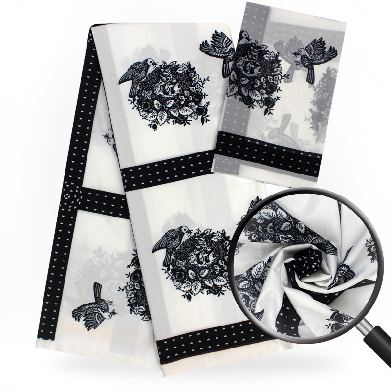 Silk satin fabric white birds pattern 4+2yards/pcs for