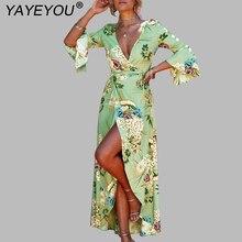 cbc26563b33 YAYEYOU Women Chiffon Floral Print Boho Dress Sexy Deep V Neck Travel Beach  Long Dress Flare Sleeve 2018 Summer Dresses