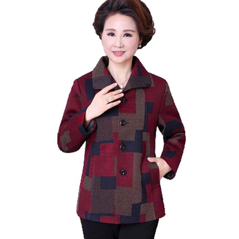 Nueva capa de la chaqueta de ancianos ropa de la madre mujeres de mediana edad a