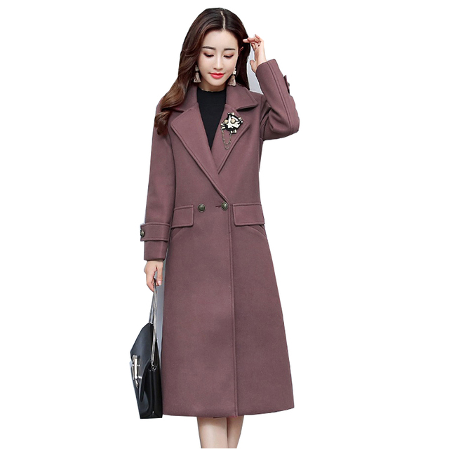 55e2edb20dfcd High quality 2018 Autumn Women s Clothing Fashion New Winter Wool Coat  Women Double Breasted Slim Long Coat Woolen Coats NW611
