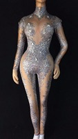 Sparkly Crystals Sexy Jumpsuit Nightclub Dance Women's Stage Prom Birthday Celebrate Outfit Female Singer Bodysuit Nude Costume