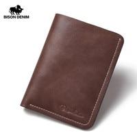 BISON DENIM Wallet Men Genuine Leather Mini Purse For Men Cow Leather Casual Holder Wallets N4386 2U