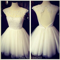 Charming See Through Tops Cap Sleeve Lace Appliques A Line White Short Dress Prom Gown
