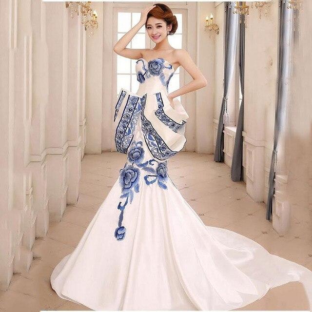 7ce986a2c985 2016 Blu E Bianco Vestito di Porcellana di Lusso Lungo del Vestito Da Sera  Cinese Tradizionale