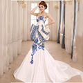 2016 Blue And White Porcelain Dress Luxury Long Evening Dress Chinese Traditional Wedding Qipao Cheongsam Free Shipping