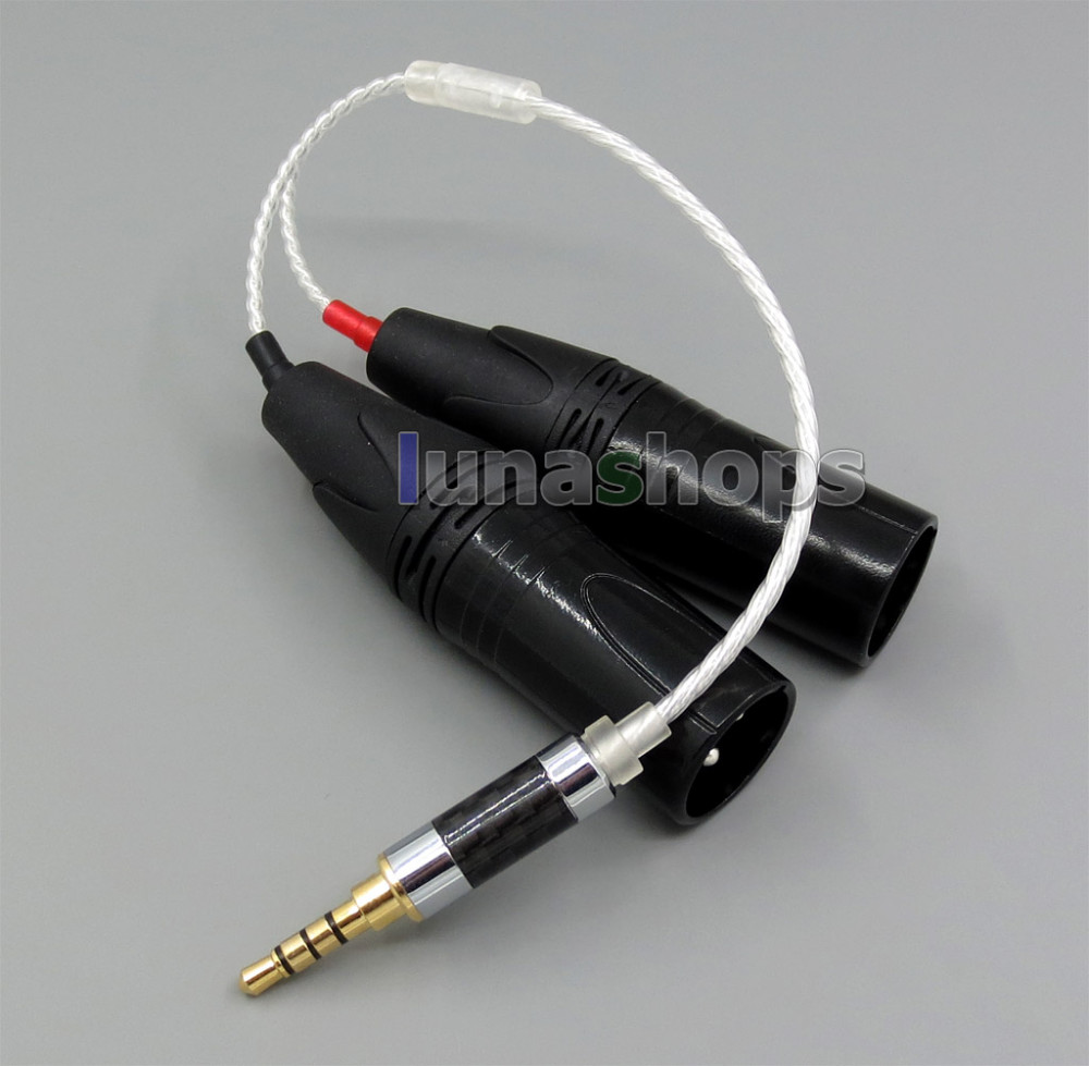 3.5mm Silver Plated TRRS Re-Zero Balanced To Dual 3pin XLR Male Cable For Hifiman HM901 HM802 Headphone Amplifier