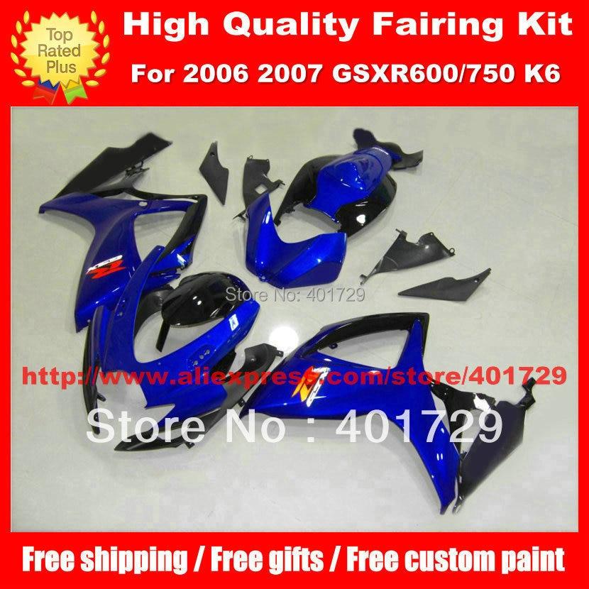 Буле черный кузов установлен для SUZUKI GSX R600 R750 2006 2007 GSXR600 GSXR750 GSX R 600 750 06 07 K6 краски обтекателя набор