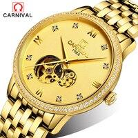 Новый 2016 Элитный бренд карнавал Нержавеющаясталь механические часы Для Мужчин Скелет автоматические механические хронограф наручные час