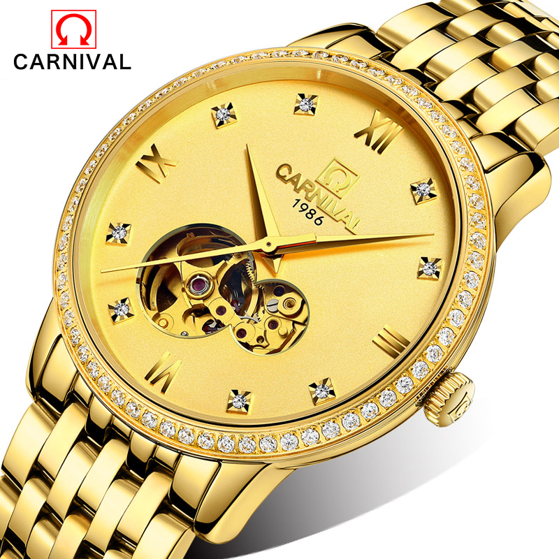 New 2016 Luxury Brand Carnival Stainless Steel Mechanical Watch Men Skeleton Automatic Mechanical Chronograph Watch Wristwatch ik luxury fashion casual stainless steel men automatic mechanical watch skeleton watch for men s dress wristwatch free ship