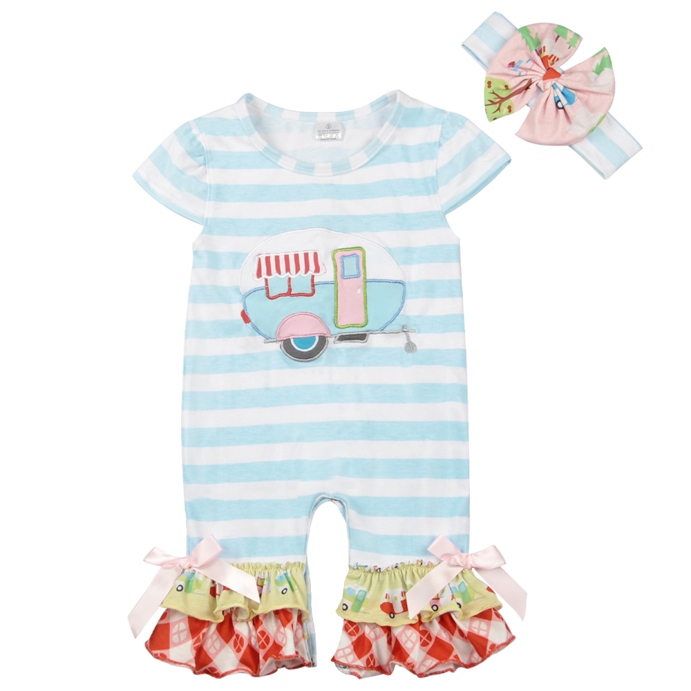 2018 Embroidery Baby Girls Boutique Romper Blue Striped Popular Infant Clothing Newborn Romper GPF801-060 tie neck ruffle trim two tone striped romper