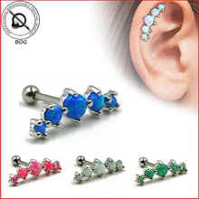 1 UNID Tragus Piercing Helix Cartílago Piercing Grapas 5 Ópalo Sintético Earr Stud Pendiente de La Joyería Del Cuerpo 16g